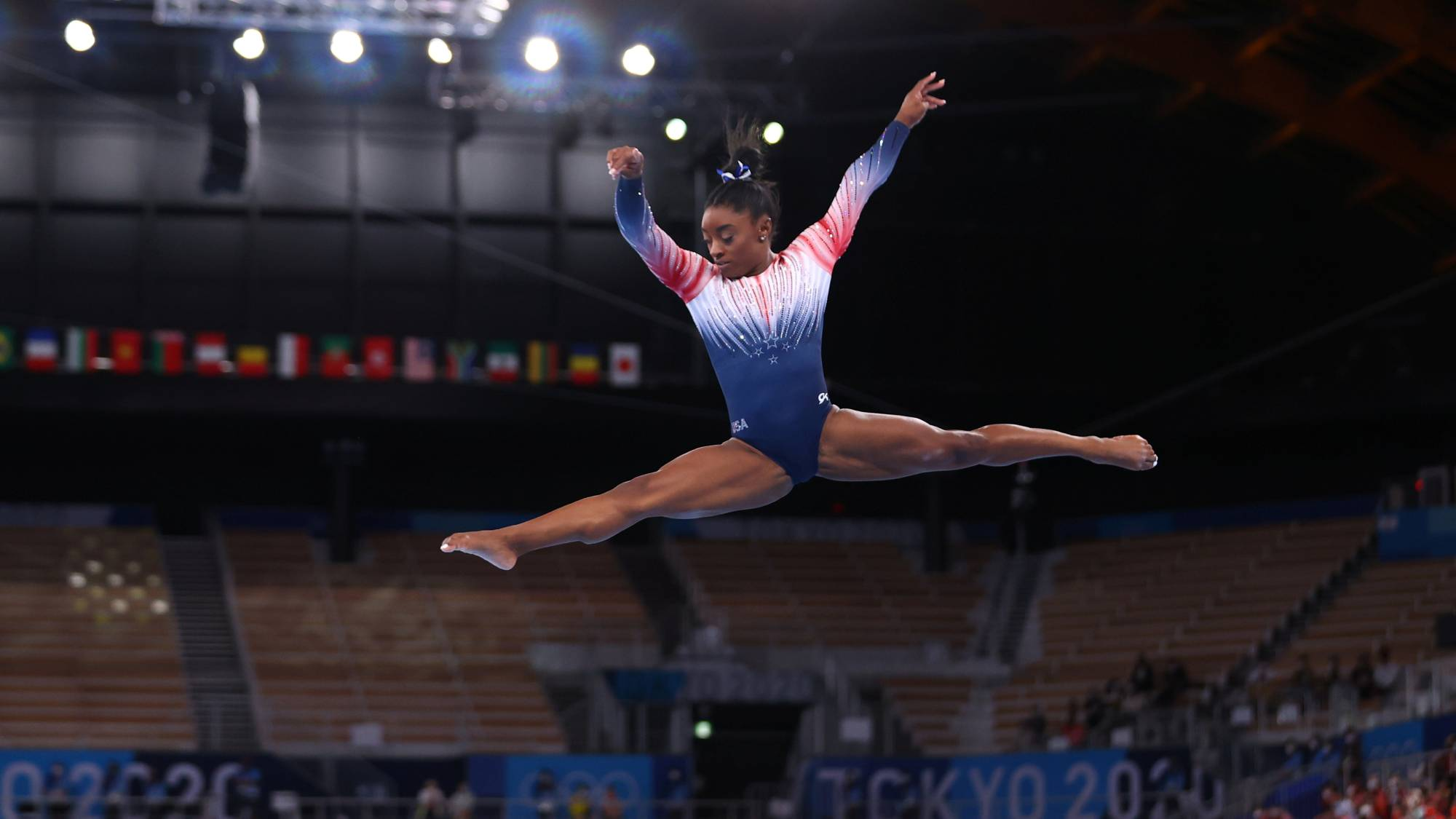 Simone Biles of the United States in action on the balance beam on Tuesday at Ariake Gymnastics Centre in Tokyo. | REUTERS