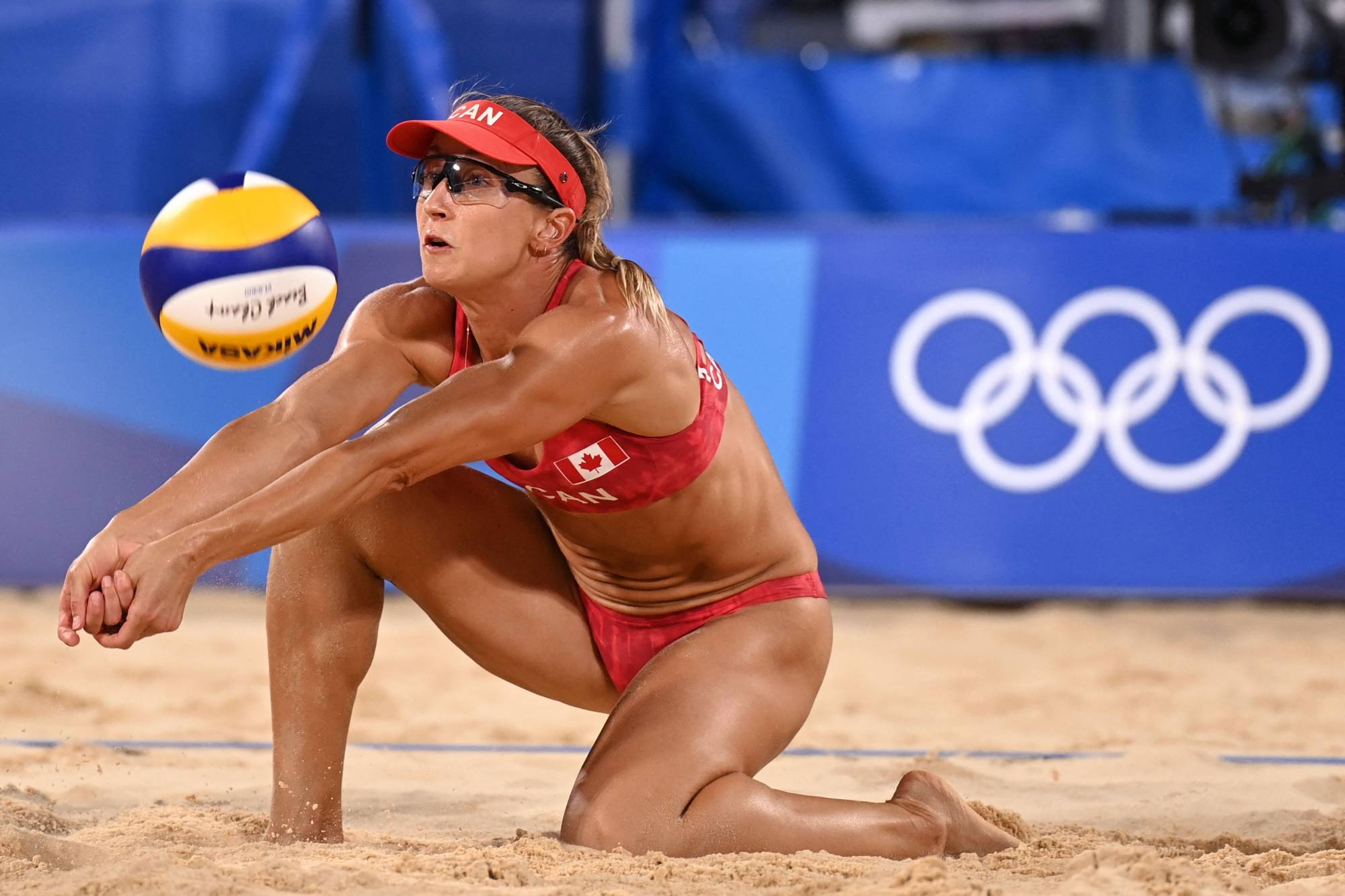 Canada's Heather Bansley in action during her team's match in women's beach volleyball quarter-final with Latvia | AFP-JIJI