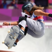 Great Britain's Sky Brown competes during the qualification heats for the women's park event at Ariake Urban Sports Park.    REUTERS