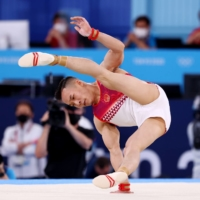 Xiao Ruoteng of China in action during the floor exercise on Sunday.    REUTERS