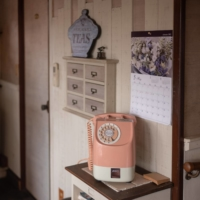 A pastel pink rotary phone in Jurin Kissa, which Kazuko Ando has been running since 1978. | CRAIG MOD