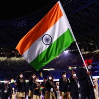 The Indian delegation at the opening ceremony of the Tokyo Olympics on July 23. In recent decades, India has won only one Olympic gold medal. | REUTERS