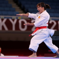 Sandra Sanchez of Spain competes in the women's individual kata ranking round on Thursday at Tokyo's Nippon Budokan.    REUTERS