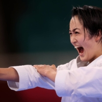 Japan's Kiyou Shimizu competes in the women's kata ranking round at Tokyo's Nippon Budokan on Thursday as karate makes its long-awaited Olympic debut.   REUTERS
