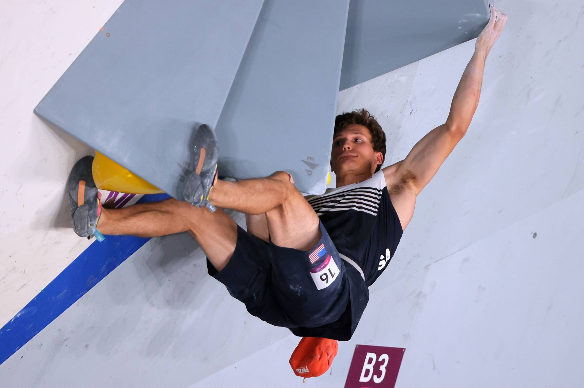 Nathaniel Coleman of the United States was the only climber to reach the goal on two boulders during the bouldering competition. | REUTERS