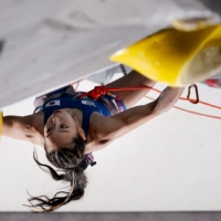 Japan's Akiyo Noguchi competes in the women's sport climbing lead qualification on Wednesday.    AFP-JIJI