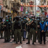 Police patrol an area after protesters called for a rally in Hong Kong in September 2020.  | AFP-JIJI