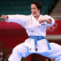 Kiyou Shimizu of Japan competes in the women's kata gold medal match on Thursday at Tokyo's Nippon Budokan.    REUTERS