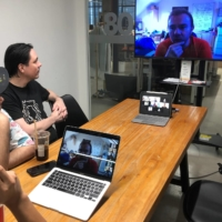 Hax's engineers discuss a prototype with a team from Unicorn Bio over a video call from their office in Shenzhen, Guangdong province, China, on July 16. | REUTERS