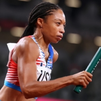 Allyson Felix on her way to an 11th Olympic medal, extending her record as the most decorated female track and field Olympian in history.   REUTERS