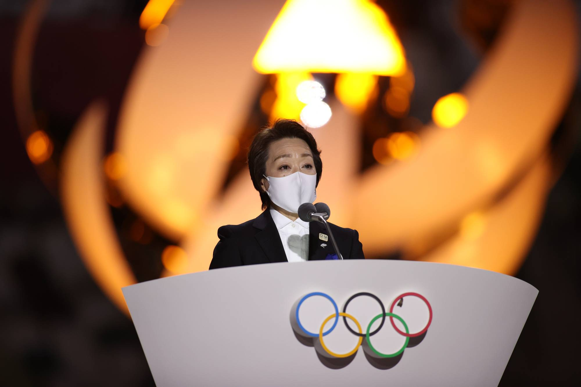 Tokyo 2020 President Seiko Hashimoto delivers a speech during the closing ceremony of Tokyo 2020 Olympics | POOL VIA REUTERS