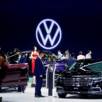The Volkswagen booth during a media day for the Shanghai Auto Show in April   REUTERS