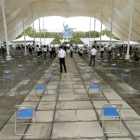 Seats are spaced out as part of anti-coronavirus distancing measures at Nagasaki Peace Park ahead of a ceremony marking the 76th anniversary Monday of the atomic bombing of the city. | KYODO