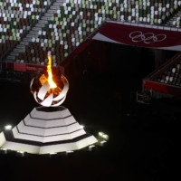 The Olympic flames during the Tokyo Olympics closing ceremony at the National Stadium on Sunday   REUTERS