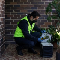 Bilal El-Hayek, a local government councilor and community leader, volunteers with Meals on Wheels to deliver food to members of vulnerable communities during a lockdown to curb the spread of COVID-19 in the Canterbury-Bankstown area of southwest Sydney on Aug. 4.   REUTERS