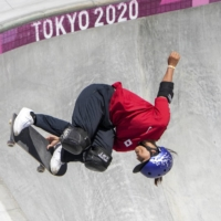 Sakura Yosozumi winds gold in the women's park skateboarding during the Tokyo Olympics on Aug. 4. Alpen Co. is stocking up its skateboards after stunning performances by Japanese athletes.   CHANG W. LEE / THE NEW YORK TIMES