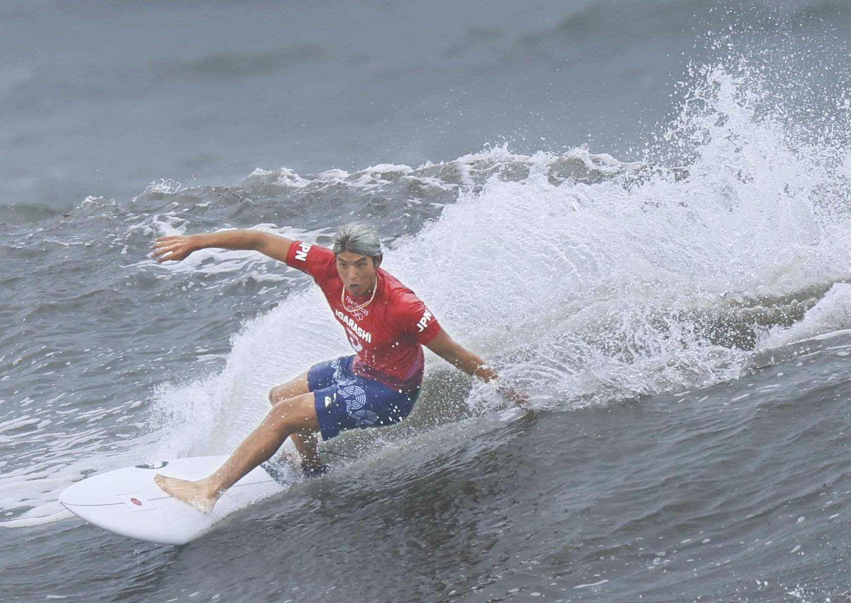 Kanoa Igarashi competes during the men's surfing semifinals at Tsurigasaki Surfing Beach in Chiba Prefecture on July 27.   KYODO