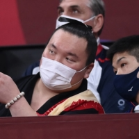 Although Hakuho attended the judo competition at the Tokyo Olympics, both he and his sport were noticeably absent from the Games' opening and closing ceremonies. | AFP-JIJI