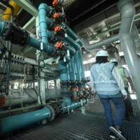 Equipment used for reverse osmosis water treatment at the Bedok NEWater plant in Singapore | AFP-JIJI