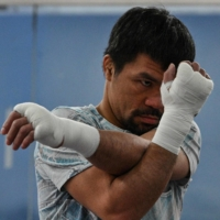 Philippine boxing legend and Senator Manny Pacquiao trains at his gym in the city of General Santos, Mindanao, the Philippines, on June 22. | AFP-JIJI