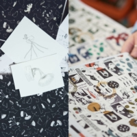 Left to right: Ai Teramoto's signature motifs were brought together in a constellation design for Liberty's From Japan With Love collection; Face Oka's illustrations of unusual figures form an eclectic narrative on his Liberty textile. |