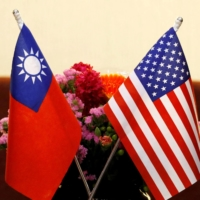 The flags of Taiwan and the U.S.   REUTERS