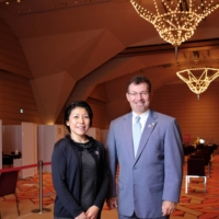 Partners in the pandemic: Naoko Fleming and Sam Rogan put their heads together and were able to turn the New York Ballroom at the Tokyo American Club into a vaccination center to help inoculate Minato Ward residents against COVID-19. | YUUKI IDE