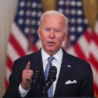 U.S. President Joe Biden delivers remarks on the crisis in Afghanistan during a speech in the East Room at the White House in Washington on Monday.   REUTERS