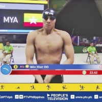 A photo from Win Htet Oo's Facebook page shows him competing in the 2019 Southeast Asian Games in the Philippines.   KYODO