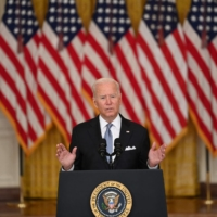 U.S. President Joe Biden delivers remarks about the situation in Afghanistan at the White House on Monday. | AFP-JIJI
