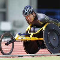 Tomoki Sato is one of Japan's medal prospects in the 1,500 meters at the Paralympic Games in Tokyo. | KYODO