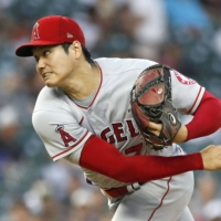 Shohei Ohtani pitches against the Tigers in Detroit on Wednesday.   KYODO