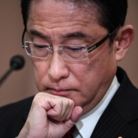 Fumio Kishida attends a debate at the Japan Press Club in Tokyo in September 2020 ahead of the last Liberal Democratic Party presidential election. | AFP-JIJI / VIA BLOOMBERG