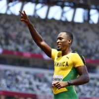 Hansle Parchment after winning the men's 110-meter hurdles at the National Stadium on Aug. 5 | KYODO