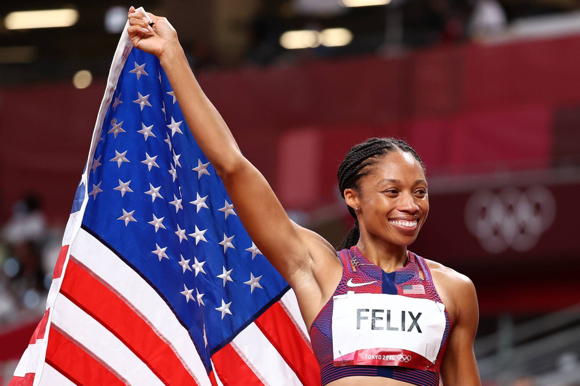 Allyson Felix became the most decorated woman in track and field history during the Tokyo Olympics.    REUTERS