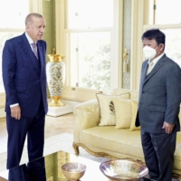 Japanese Foreign Minister Toshimitsu Motegi meets with Turkey President Recep Tayyip Erdogan in Istanbul on Friday.   JAPAN FOREIGN MINISTRY / VIA KYODO