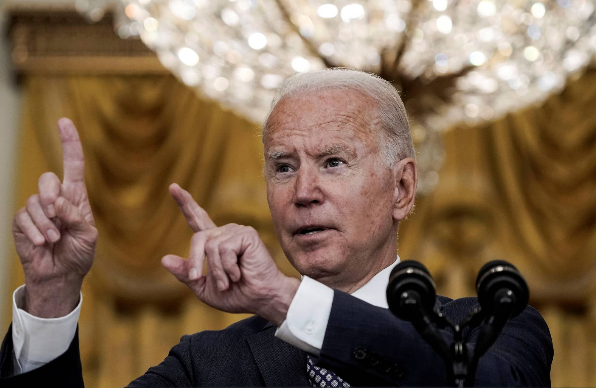 U.S. President Joe Biden delivers remarks on evacuation efforts and the ongoing situation in Afghanistan during a speech at the White House in Washington on Friday.   REUTERS