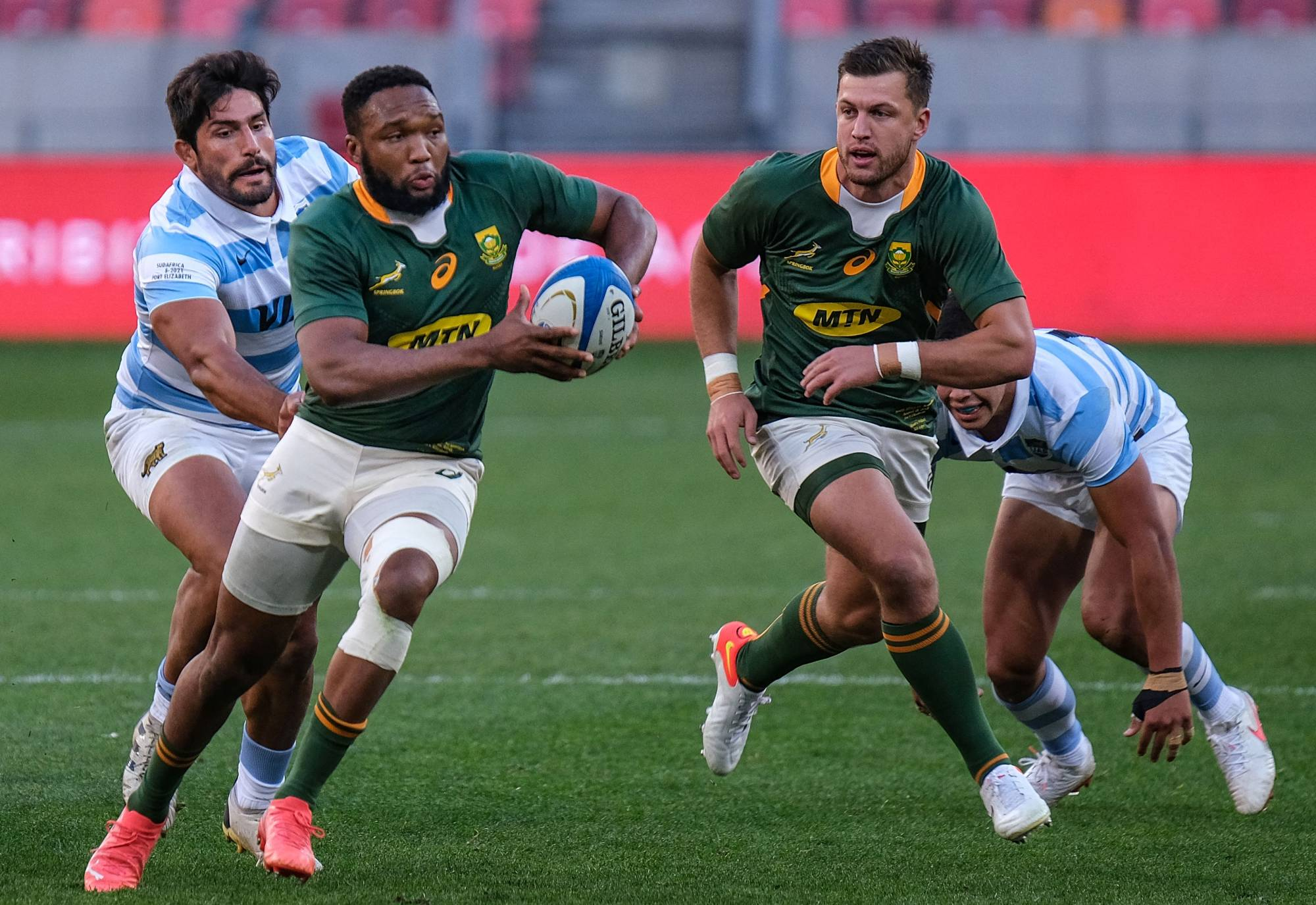 South Africa center Lukhanyo Am runs with the ball during a Rugby Championship match between the Springboks and Argentina on Saturday in Gqeberha (formerly Port Elizabeth), South Africa. | AFP-JIJI