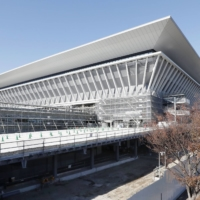 Medical experts have pushed for the temporary use of facilities owned by the Tokyo government, such as the Tokyo Aquatics Centre, as medical facilities for COVID-19 patients.   KYODO
