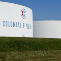 Holding tanks are seen at Colonial Pipeline Co.'s Linden Junction Tank Farm in Woodbridge, New Jersey. The firm was hit by a ransomware attack in May.   COLONIAL PIPELINE CO. / VIA REUTERS