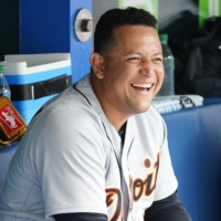 Miguel Cabrera laughs in the dugout after hitting a solo home run, the 500th of his career, during the Tigers' game against the Blue Jays on Sunday.   USA TODAY / VIA REUTERS