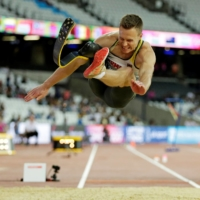 Markus Rehm of Germany competes in the men's long jump T44 at the London world championships in 2017. Classes for each sport are determined by the impairment and the degree to which it affects an athlete, with each class assigned a different letter and number. | REUTERS