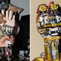 Elastic skin is stretched over a robotic hand. Right: A robot is tested inside a Disney workshop.  | COLEY BROWN / THE NEW YORK TIMES