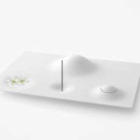 The Oka is a minimalist altar shaped like a hilly landscape with mounds and dips acting as an urn, incense holder, vase and bell. | TSUNEHIKO OKAZAKI