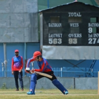 Afghan national cricket team players attend a training session at the Kabul International Cricket Stadium on Saturday.  | AFP-JIJI