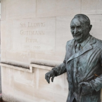 A statue of Ludwig Guttmann, the 'father' of the Paralympics, stands at the entrance of the Stoke Mandeville Hospital in Buckinghamshire in southern England. | KYODO