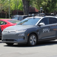 A vehicle equipped with Pony.ai's self-driving technology is parked at the company's office in Fremont, California.   REUTERS