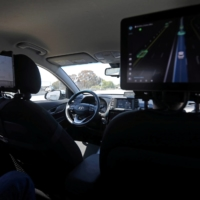 An empty driver's seat inside a vehicle equipped with Pony.ai's self-driving technology   REUTERS