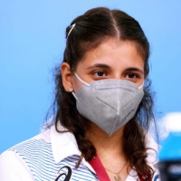 Alia Issa, a member of the Paralympic refugee team, attends a news conference in Tokyo on Monday.   AFP-JIJI