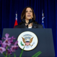 U.S. Vice President Kamala Harris delivers a speech at Gardens by the Bay in Singapore on Tuesday.  | POOL / VIA REUTERS